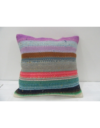 Vintage Handwoven Decorative Colorful Striped Turkish Kilim Pillow cover