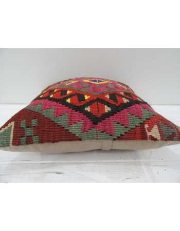 Vintage Handwoven Embroidered Decorative Turkish Kilim pillow cover