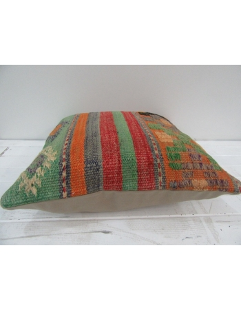 Vintage Handwoven Striped Embroidered Decorative Turkish Kilim pillow cover
