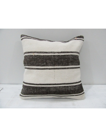Vintage White and Brown Striped Turkish Kilim Pillow cover