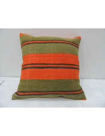 Vintage Orange and Green Striped Decorative Turkish Kilim Pillow Cover