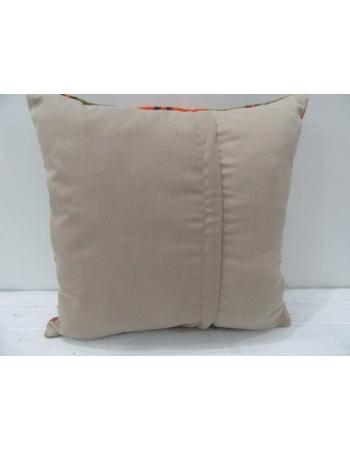Vintage Orange and Green Striped Decorative Turkish Kilim Pillow Cover