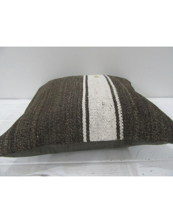 Vintage White Striped Brown Turkish Kilim Pillow cover