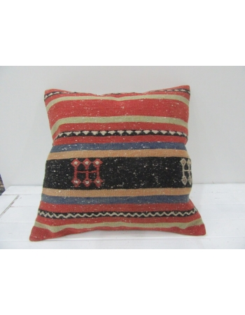 Vintage Handwoven Colorful Striped Embroidered Turkish Kilim Pillow cover