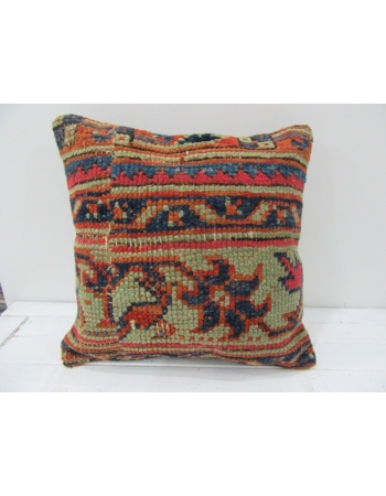 Vintage Handknotted Floral Designed Decorative Turkish Pillow cover