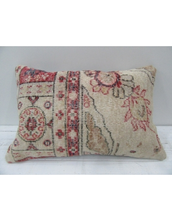 Vintage Handmade Beige and Coral Pillow Cushion Cover