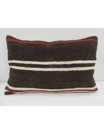 Vintage Handmade Darkbrown White Striped Kilim Cushion Cover