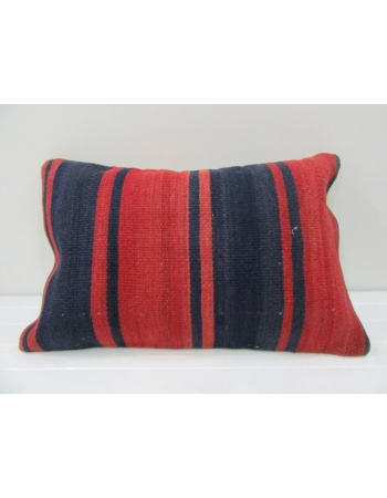 Vintage Handmade Orange and Navy Blue Striped Cushion Cover