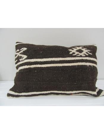 Vintage Handmade Dark Brown White Striped Kilim Cushion Cover