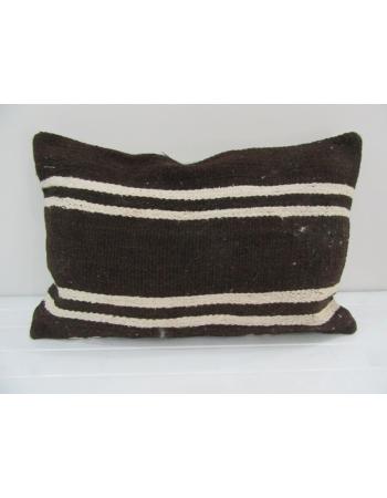 Vintage Handmade White Striped Brown Kilim Cushion Cover