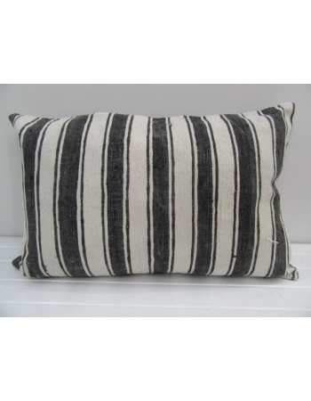 Vintage Handwoven White and Gray Striped Pillow cover