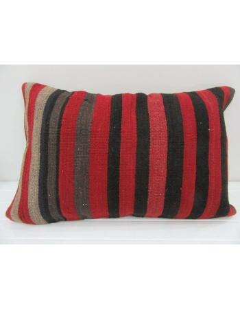 Vintage Handmade Black and Red Striped Kilim Cushion Cover