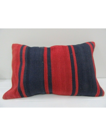 Vintage Handmade Navy Blue and Red Striped Kilim Cushion Cover