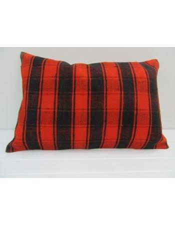 Vintage Handmade Orange and Black Striped Kilim Cushion Cover