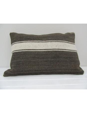 Vintage Handmade White Striped Gray Kilim Cushion Cover