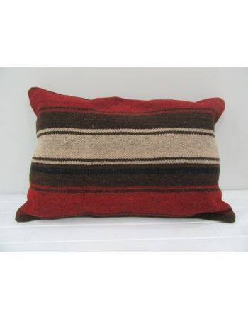 Vintage Handmade Beige and Brown Striped Red Kilim Cushion Cover