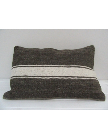 Vintage Handmade White Striped Gray Kilim Cushion Cover