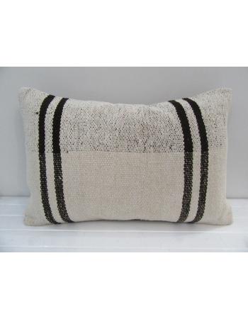 Vintage Handmade Black Striped Natural Kilim Pillow Cover