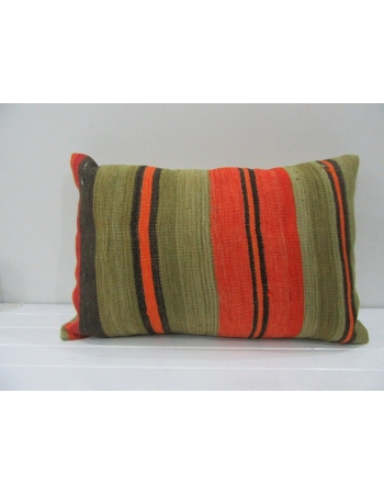 Vintage Handmade Orange and Green Striped Kilim Cushion Cover