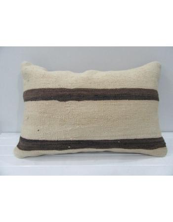 Vintage Handmade Brown Striped Beige Kilim Cushion Cover