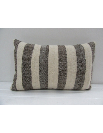 Vintage Handmade Gray and Beige Striped Turkish Kilim Pillow cover