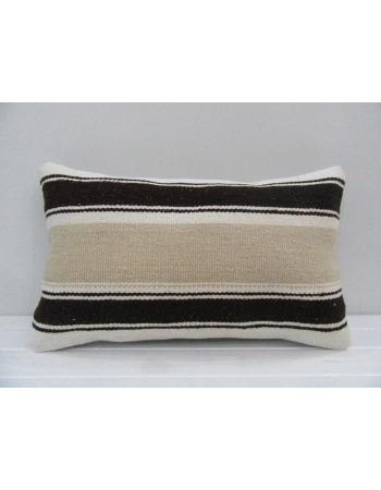 Vintage Handmade Black Striped Beige Turkish Kilim Pillow cover