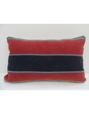 Vintage Handmade Navy Blue and Red Striped Turkish Kilim Pillow cover