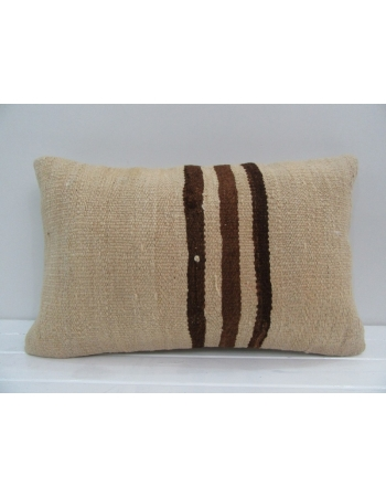Vintage Handmade Brown Striped Natural Turkish Kilim Pillow cover
