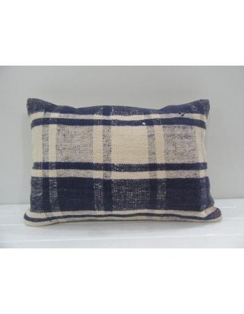 Vintage Handmade White and Navy Blue Turkish Kilim Pillow cover