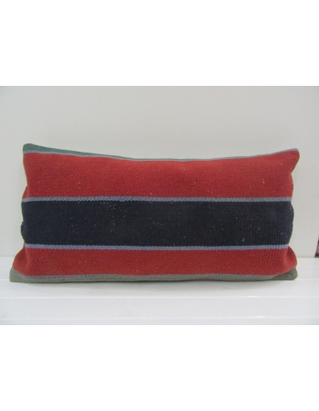 Vintage Handmade Black Striped Red Turkish Kilim Pillow Cover
