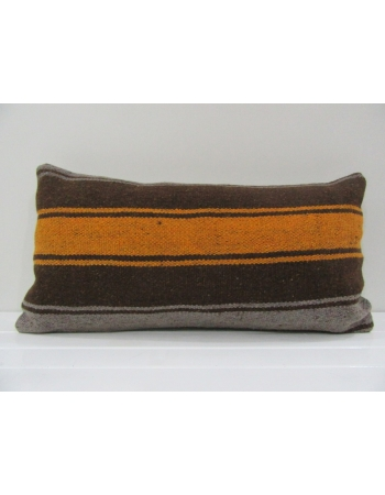 Vintage Gray, Orange and Brown Striped Turkish Kilim Pillow Cover