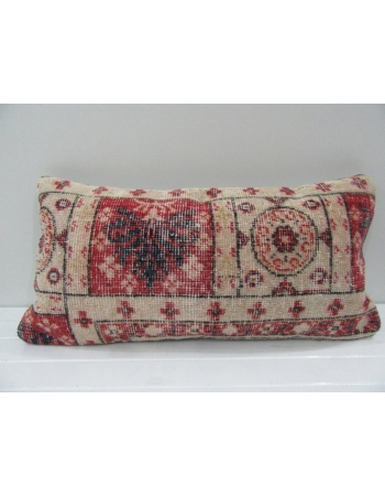 Vintage Handmade Ivory and Red Turkish Pillow Cover