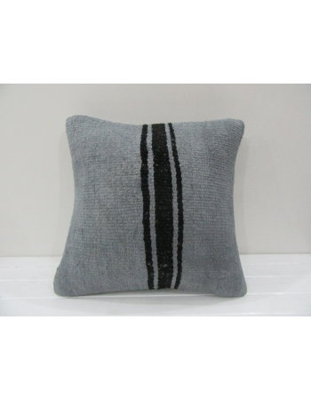 Vintage Handmade Black Striped Gray Turkish Kilim Pillow cover