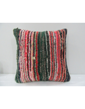 Vintage Handmade Green and Red Striped Turkish Kilim Pillow cover