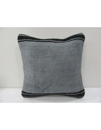 Vintage Handmade Black Striped Gray Turkish Kilim Pillow cover