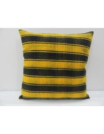 Handmade Black and Yellow Striped Turkish Kilim Pillow Cover