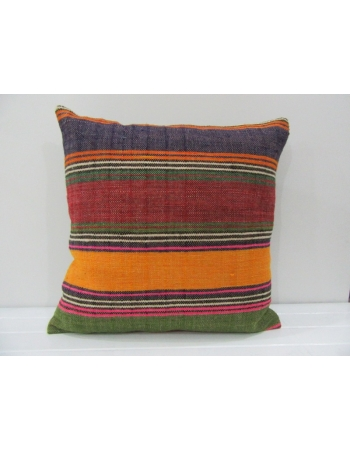 Handmade Colorful Striped Turkish Kilim Pillow Cover
