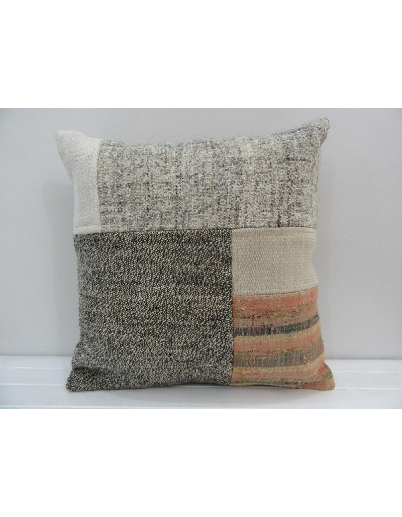20x28 Gray Handmade decorative Turkish kilim pillow cover