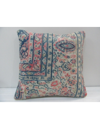 Handknotted Decorative Pink and Blue Turkish Pillow Cover