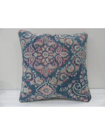 Handknotted Decorative Navy Blue and Coral Turkish Pillow Cover