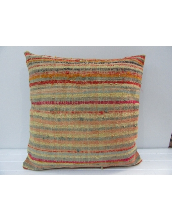 Handmade Multicolor Striped Turkish Kilim Pillow Cover