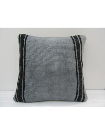 Handmade Black Striped Gray Turkish Kilim Pillow Cover