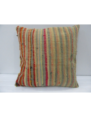 Handmade Multicolor Striped Turkish Kilim Pillow Cover