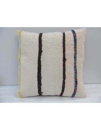 Handmade Striped Natural Turkish Kilim Pillow Cover