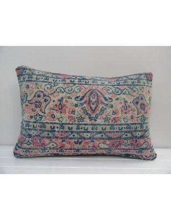 Vintage Handmade Blue and Coral Turkish Kilim Cushion Cover