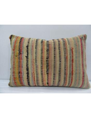 Vintage Handmade Multicolor Striped Mustard Kilim Cushion Cover