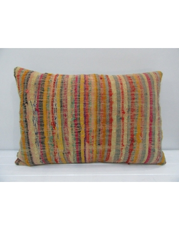 Vintage Handmade Multicolor Striped Mustard Kilim Cushion Cover