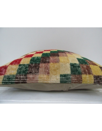 Vintage Handmade Chequered Colorful Turkish Pillow Cover