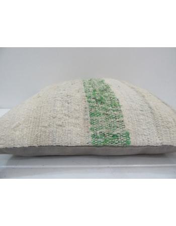 Vintage Handmade Decorative Green Striped Kilim Pillow Cover