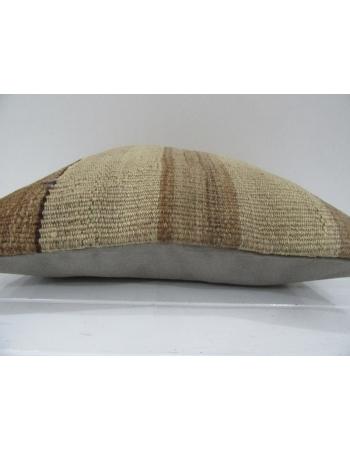 Vintage Handmade Brown Striped Natural Kilim Pillow Cover
